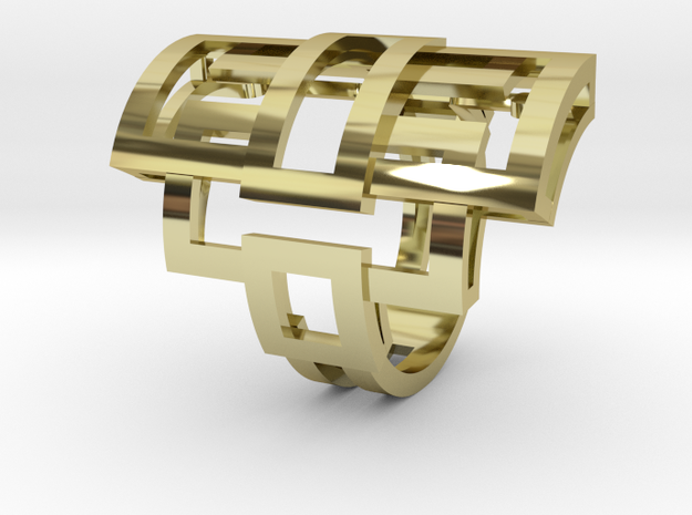 Ring Rectangular in 18k Gold Plated Brass