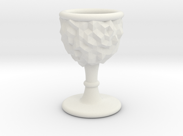 DRAW goblet - inverted geode with stem in White Natural Versatile Plastic: Small