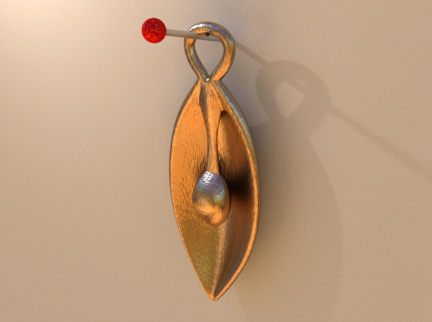 Love Pearl Pendant in Polished Gold Steel