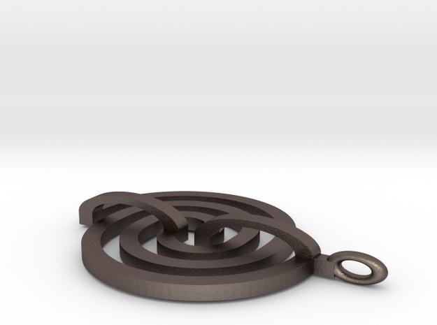 2bridgeTrefoil Pendant in Polished Bronzed Silver Steel