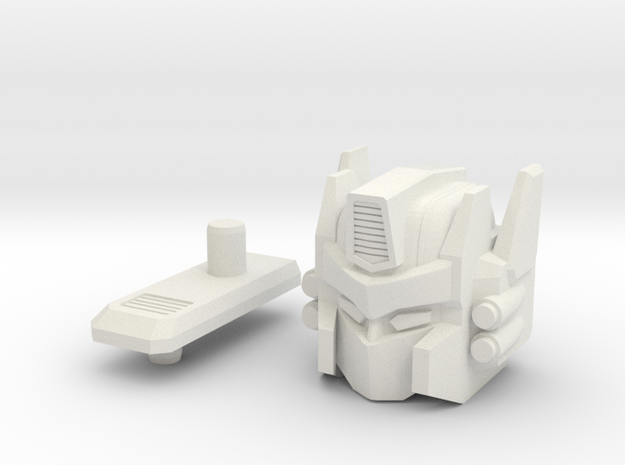 Truck Robot HEAD in White Natural Versatile Plastic