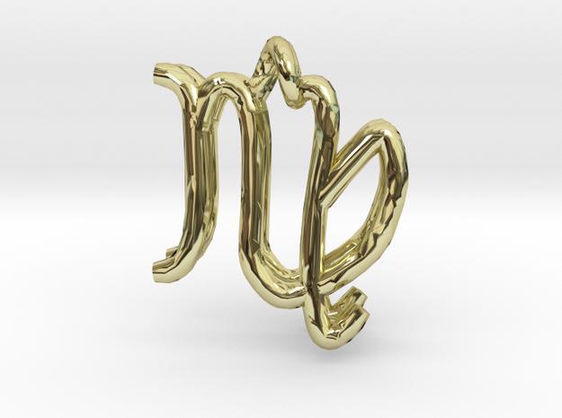 Virgo Zodiac- 2pendants in 18k Gold Plated Brass