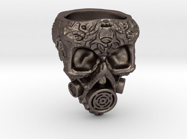 Plague Skull Ring (size 10) in Polished Bronzed Silver Steel