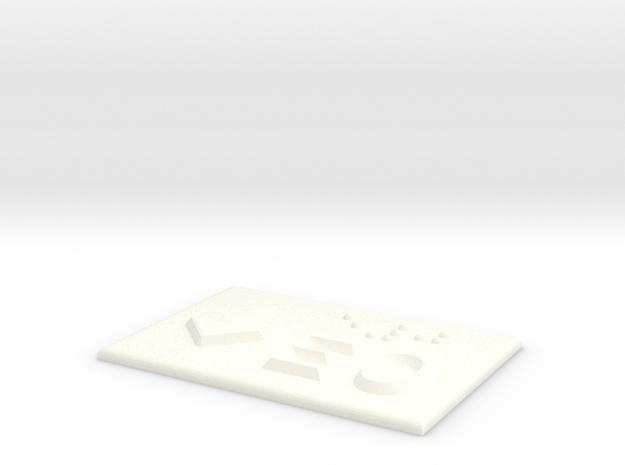E0 mit Pfeil nach unten in White Processed Versatile Plastic