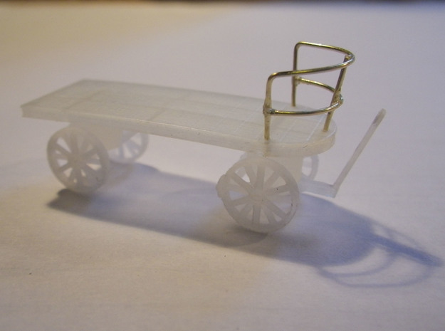 Canadian Railway Postal Baggage Cart - HO (1:87) 3d printed Print of Test Version with fno printed railing (Brass Railing added on test print).  Version for sale has printed railing.