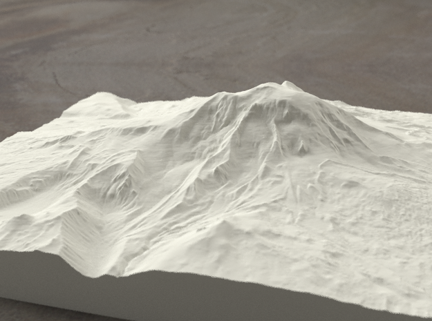 8'' Mt. Adams, Washington, USA, Sandstone 3d printed Radiance rendering of model, viewed from the East.