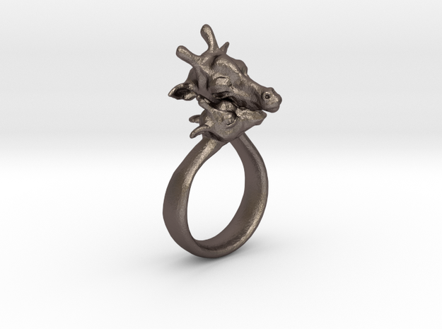 Giraffe Ring Size 7 in Polished Bronzed Silver Steel