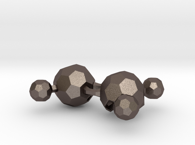 C2H4 molecule bottleopener keychain in Polished Bronzed Silver Steel