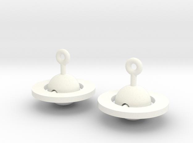 Saturn - Rotating Earrings (realistic scale) 3d printed