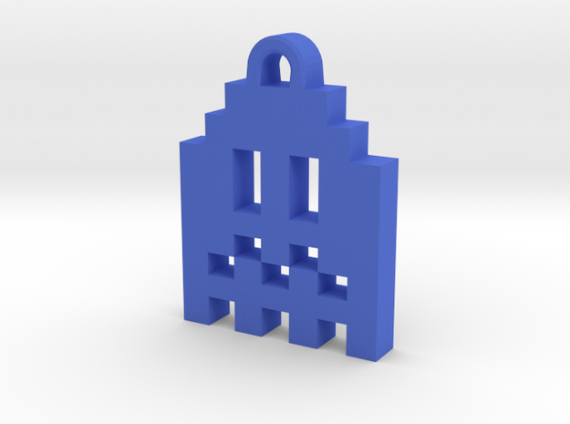 Pac Man Ghost 8-bit Earring 1 (afraid | moving) in Blue Strong & Flexible Polished