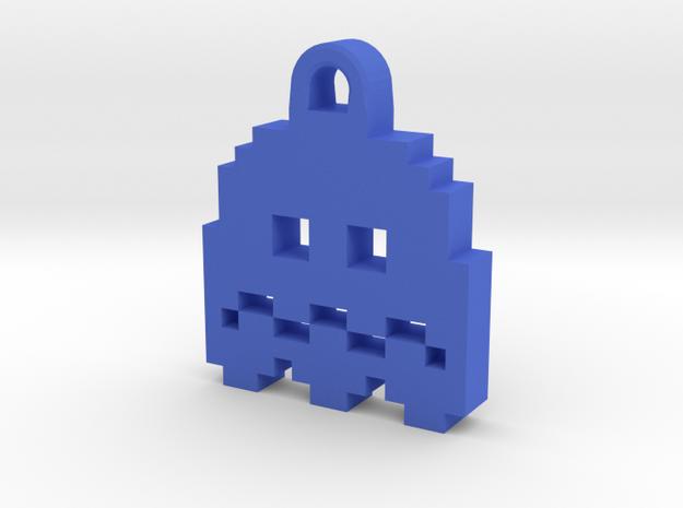Pac Man Ghost 8-bit Earring 2 (afraid) in Blue Processed Versatile Plastic