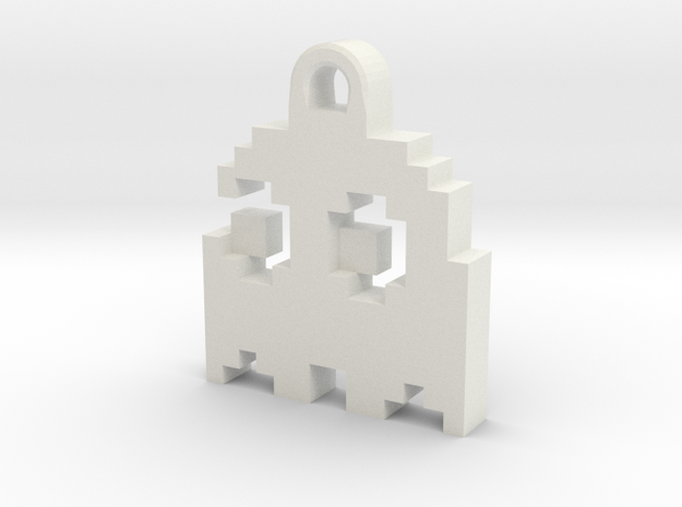 Pac Man Ghost 8-bit Earring 2 (looks left | moving 3d printed