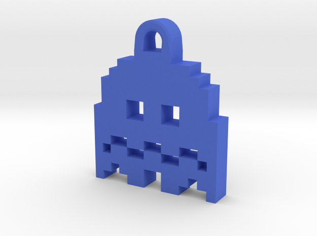 Pac Man Ghost 8-bit Earring 2 (afraid | moving) in Blue Processed Versatile Plastic