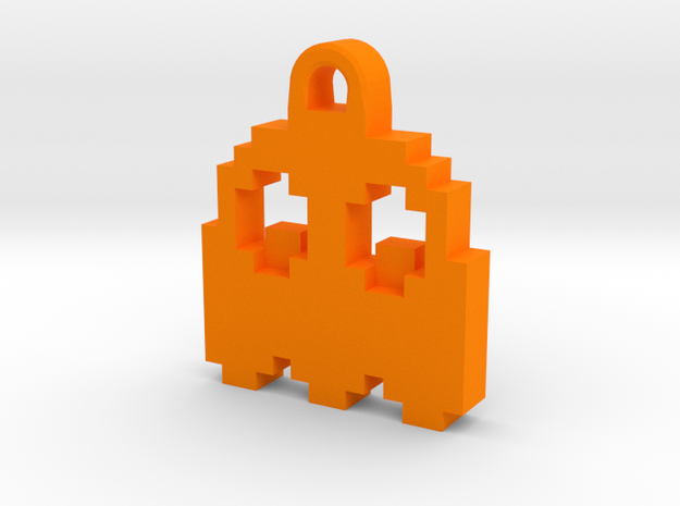 Pac Man Ghost 8-bit Earring 2 (looks down) in Orange Processed Versatile Plastic