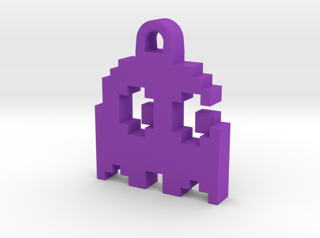 Pac Man Ghost 8-bit Earring 2 (looks right | movin in Purple Processed Versatile Plastic
