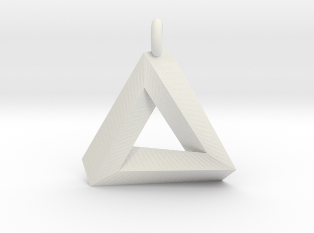 Penrose Triangle - Pendant (3.5cm | 3.5mm O-Ring) in White Natural Versatile Plastic