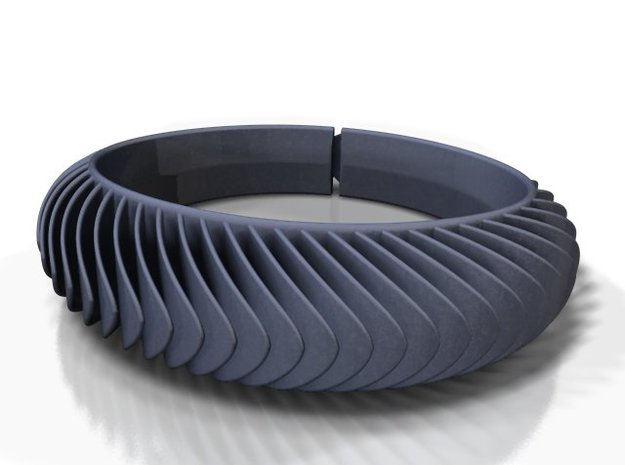 Blaadjesarmband-taps / Leaves bracelet tapered in Black Natural Versatile Plastic: Medium