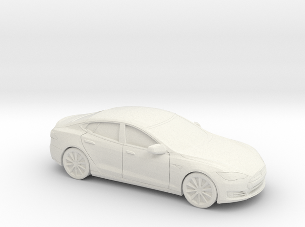 1/87 2012-16 Tesla Model S in White Natural Versatile Plastic