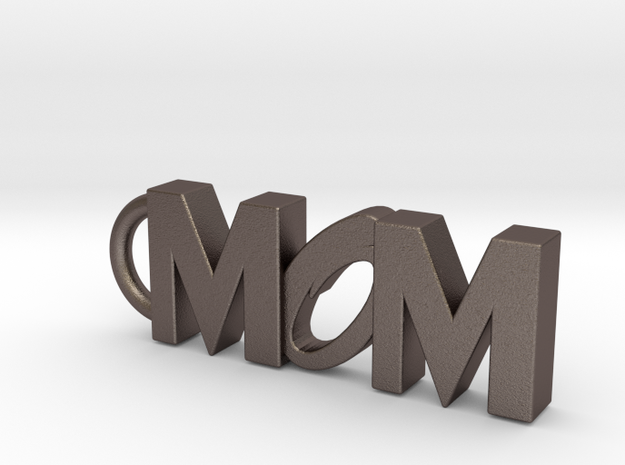 Mom Keychain Tag in Polished Bronzed Silver Steel