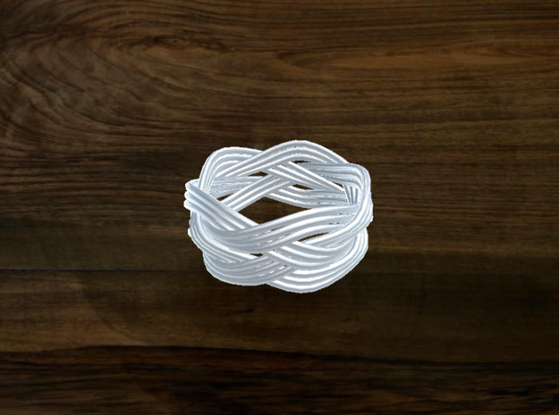 Turk's Head Knot Ring 4 Part X 5 Bight - Size 7 3d printed