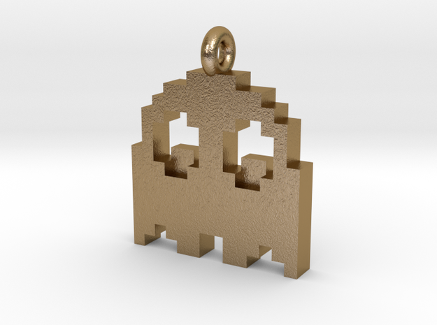 Pacman Pendant - Ghost in Polished Gold Steel