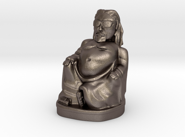 Dude Buddha 2in Printing Ready in Polished Bronzed Silver Steel