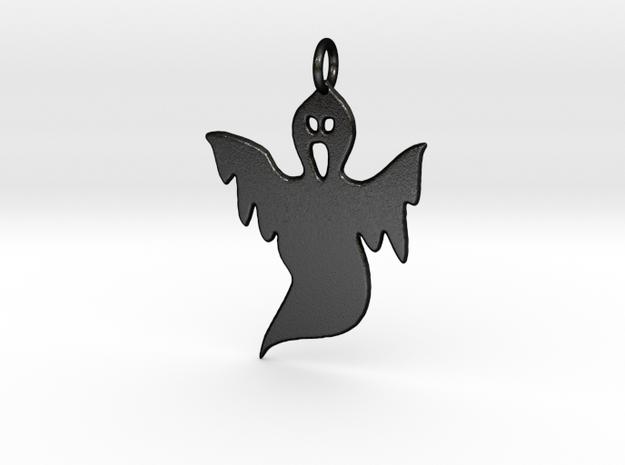 Halloween Ghost Pendant in Matte Black Steel