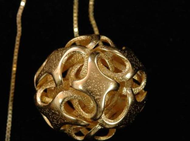 Rhombic Dodecahedron I, pendant 3d printed pendant in polished gold steel