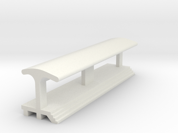Straight, Long Platform - With Shelter in White Natural Versatile Plastic