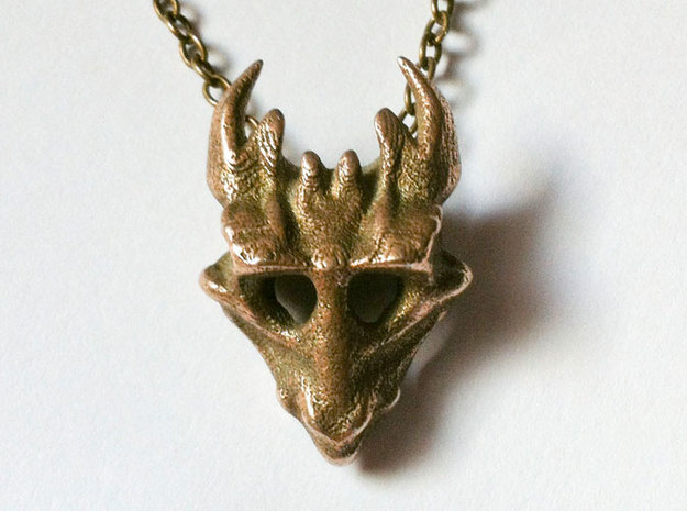Juvenile Dragon Skull in Polished Bronzed Silver Steel