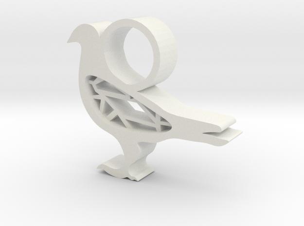 Pigeon Pendant  in White Natural Versatile Plastic