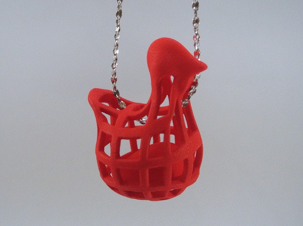 Chicken before Egg - Pendant in White Processed Versatile Plastic