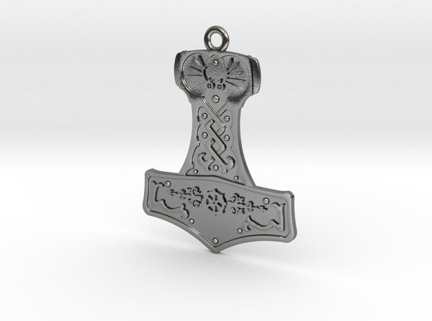 Steampunk Mjolnir Pendant in Polished Silver