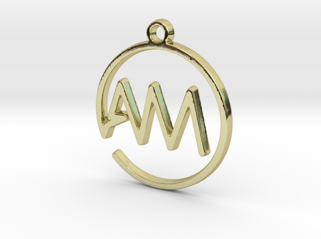 A & M Monogram Pendant in 18k Gold Plated