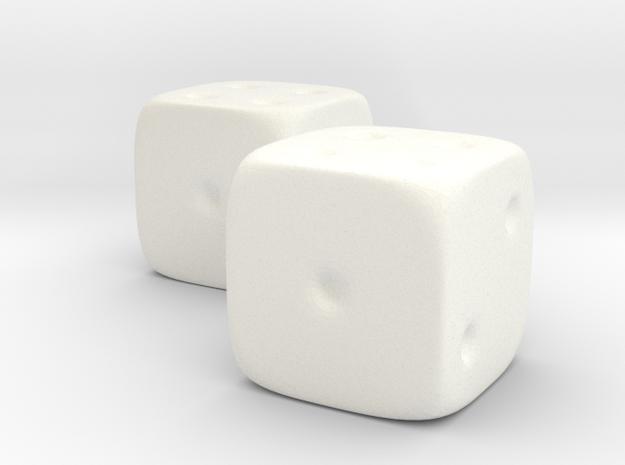 Dice in White Processed Versatile Plastic