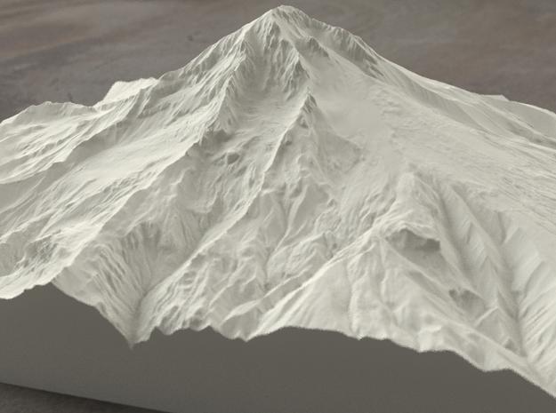 8'' Mt. Hood, Oregon, USA, Sandstone 3d printed Radiance rendering of Mt Hood terrain model from the West.