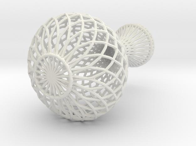 Flowerpot In Wireframe in White Strong & Flexible