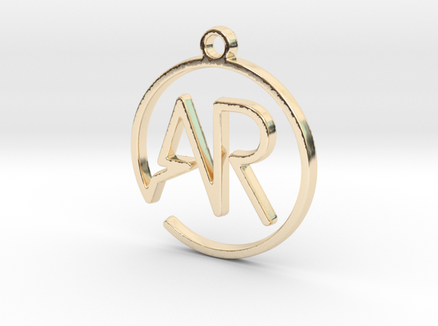 A & R Monogram Pendant in 14k Gold Plated