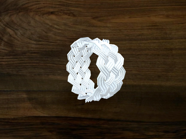 Turk's Head Knot Ring 5 Part X 13 Bight - Size 7.2 3d printed