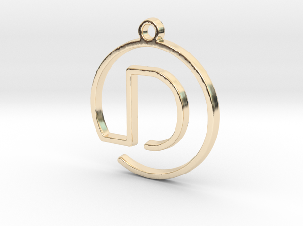 D Monogram Pendant in 14k Gold Plated