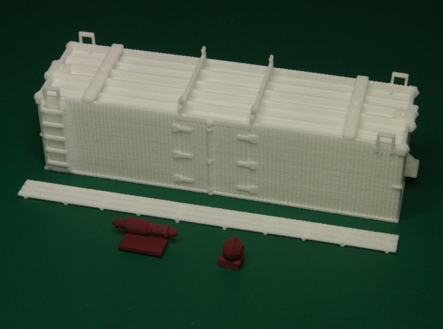 HOn30 25ft Reefer 3d printed The parts separated. Brake parts have been painted.