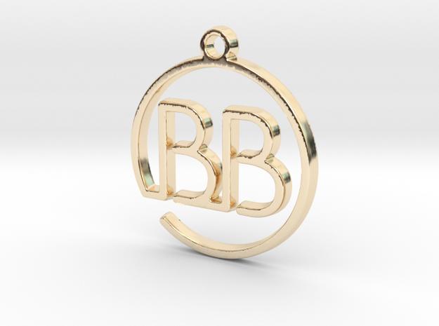 B & B Monogram Pendant in 14k Gold Plated