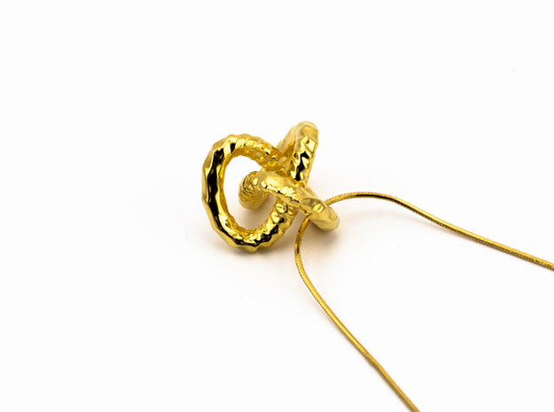 DRAGON Soft Solid, Pendant. Strong Pure.  in 18k Gold Plated Brass