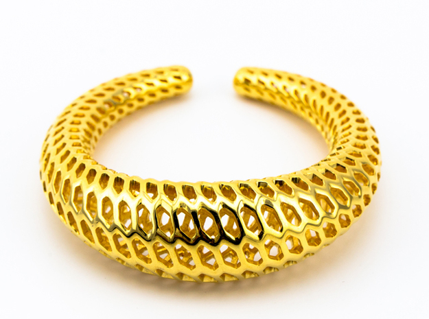 DRAGON TALES Strutura, Bracelet Thick, Medium Size in 18k Gold Plated: Medium