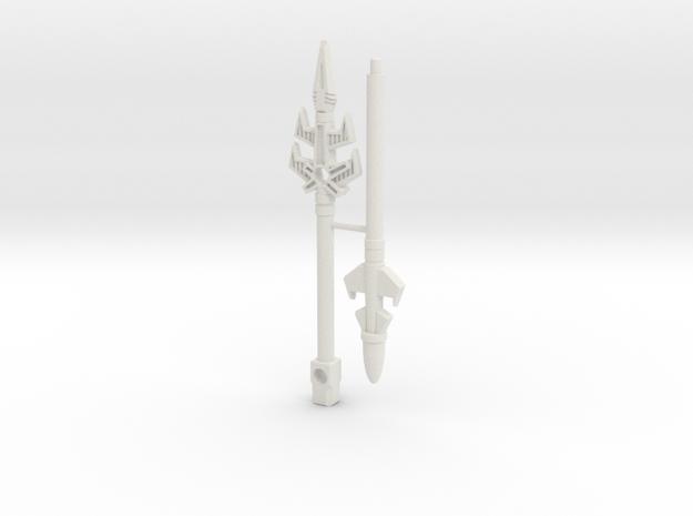 Black Zarak Spear, 8 inch, 5mm grips in White Natural Versatile Plastic