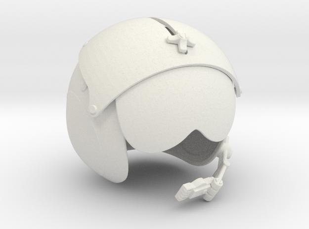 1/4 helicopter pilot helmet single in White Natural Versatile Plastic
