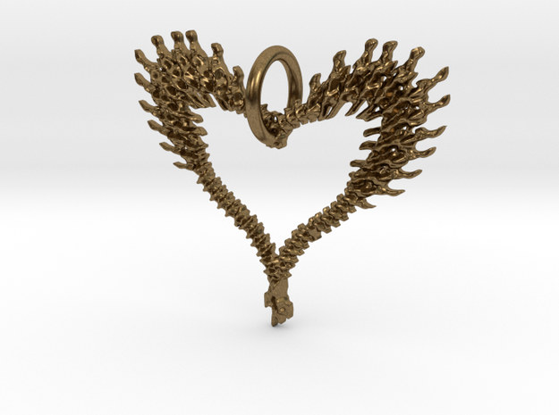 exploded bone heart in Natural Bronze