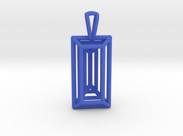 3D Printed Diamond Baugette Cut Pendant (Larger) in Blue Processed Versatile Plastic