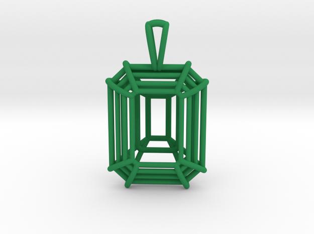 3D Printed Diamond Emerald Cut Pendant (Small)  in Green Processed Versatile Plastic