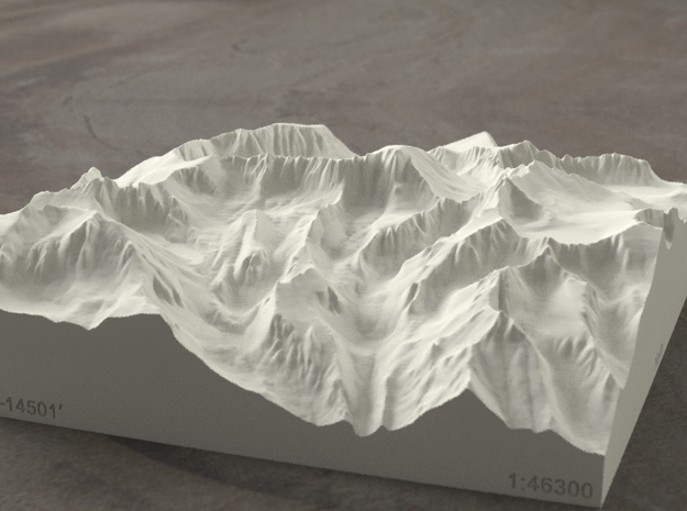 6'' Mt. Whitney, California, USA, Sandstone 3d printed Radiance rendering of model, viewed from the East, looking past Whitney Portal